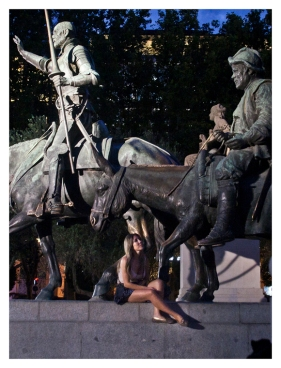 Frau mit Don Qijote und Sancho Panza (Woman with Don Quijote and Sancho Panza.)