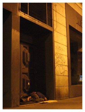 Obdachloser Mann. (Homeless man.)