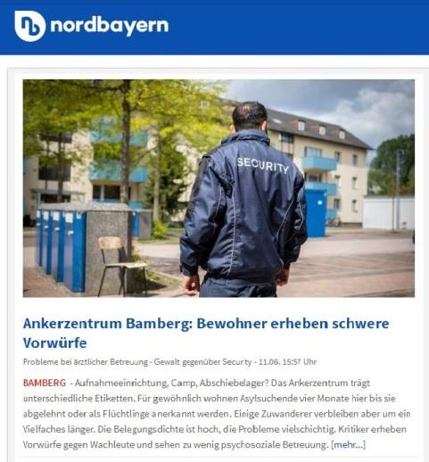 2019-06-11 Ankerzentrum Bamberg - Bewohner erheben schwere Vorwürfe